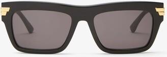 Bottega Veneta Rectangular Acetate Sunglasses - Black Grey