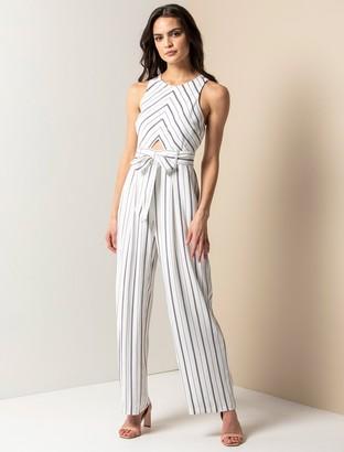 Forever New Jodie Striped Jumpsuit - Marine Stripe - 10