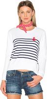 Sundry Anchor Stripe Sweatshirt in White. - size 0 / XS (also in 1 / S)