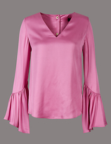 Autograph Satin Flared Cuff V-Neck Shell Top