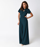 Moon Collection 1940s Style Teal Cap Sleeve Wide Leg Jumpsuit
