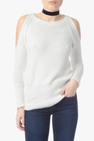 7 For All Mankind Cold Shoulder Dolman Sweater In White