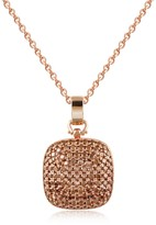 Ileana Creations Azhar Cubic Zirconia and Sterling Silver Square Pendant Necklace