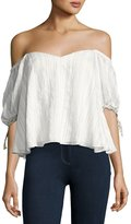 Rebecca Taylor Off-the-Shoulder Striped Blouse, White