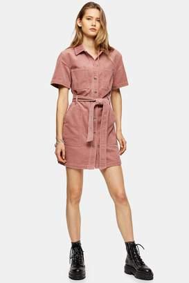 Topshop Womens Pink Corduroy Short Sleeve Shirt Dress - Pink