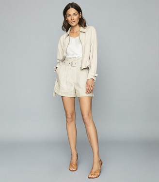 Reiss SIA POINT COLLAR BELTED JACKET Neutral