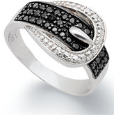 Black Diamond Victoria Townsend 1/4 ct. t.w.) and Diamond Accent Buckle Ring in Sterling Silver