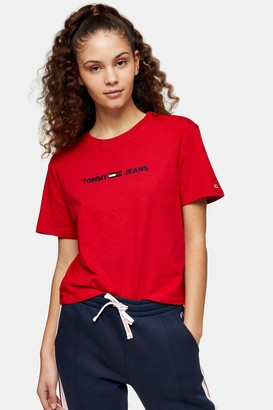 Tommy Hilfiger Womens Red Logo T-Shirt By Tommy Jeans - Red