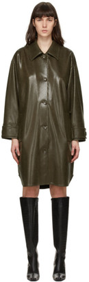 Stand Studio Green Faux-Leather Kali Coat