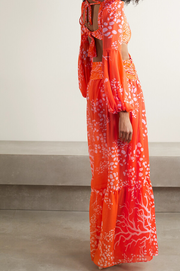 Thumbnail for your product : PatBO Cutout Printed Chiffon And Stretch-jersey Maxi Dress - Orange