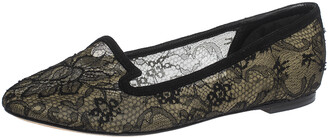 Dolce & Gabbana Black Lace And Suede Trim Ballet Flats Size 39