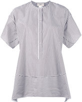 Ports 1961 collarless shift striped shirt - women - Cotton - 40