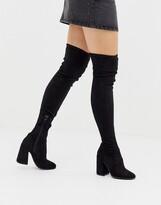 Asos Design DESIGN Korey heeled thigh high boots in black
