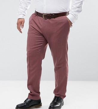 Asos Design DESIGN PLUS Skinny Smart Trouser in Pink 100% Merino Wool
