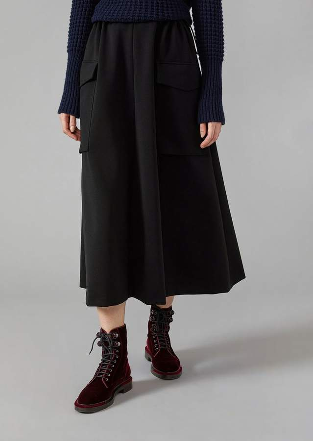 Giorgio Armani Mid-Length Skirt In Technical Jersey With Maxi Pockets