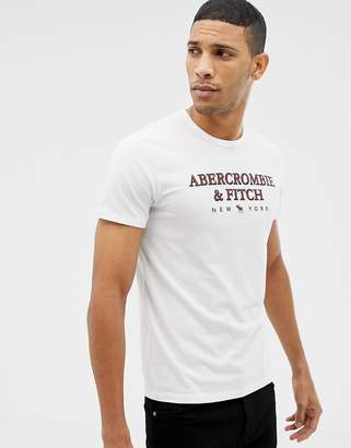 Abercrombie & Fitch large chest logo t-shirt in white