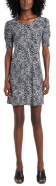 MSK Printed Ruched-Sleeve Sheath Dress