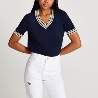 River Island Womens Navy v neck stripe t-shirt
