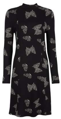 Dorothy Perkins Womens Black Butterfly Print High Neck Swing Dress, Black