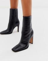 Asos Design DESIGN Evolution leather high ankle boots in black croc