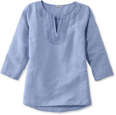 L.L. Bean Embroidered Linen/Cotton Popover, Three-Quarter Sleeve