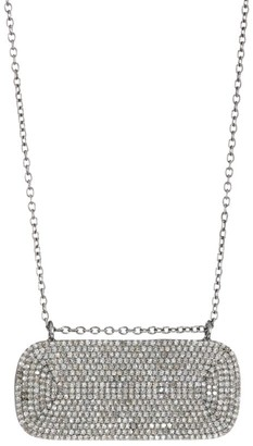 Nina Gilin Black Rhodium-Plated & Diamond Pave Horizontal Dog Tag Necklace
