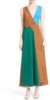 Diane von Furstenberg Women's Colorblock Polka Dot Silk Maxi Dress