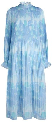 Ganni Pleated Floral Midi Dress