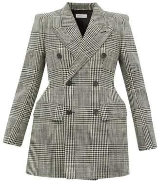 Balenciaga Hourglass Checked Wool Blazer - Womens - Black White