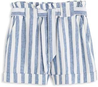 MANGO Panadero Striped Linen Shorts