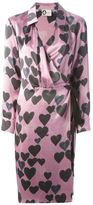 heart print wrap dress