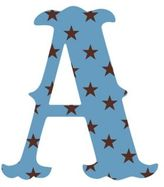"Wall Candy Arts WallCandy Arts WallCandy Luv Letters Stars Letter ""A"" Wall Decal in Blue"