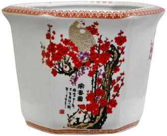 "Oriental Furniture 10"" Cherry Blossom Porcelain Flower Pot"