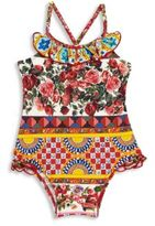 Dolce & Gabbana Baby's Rose Print Swimsuit