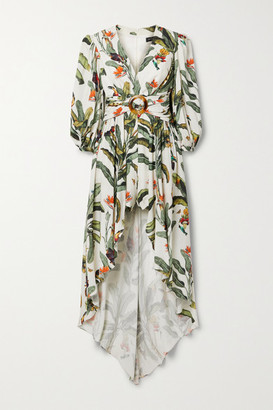 PatBO Belted Layered Printed Voile Playsuit - Ecru