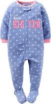 Carter's Purple Sister Fleece Zip-Up Sleep-N-Play - Baby Girls newborn-24m