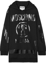 Moschino Oversized Printed Cotton-jersey Hooded Top - Black
