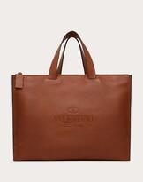 Thumbnail for your product : Valentino Garavani Uomo Valentino Garavani Identity Leather Tote Bag Man Saddle Brown 100% Pelle Di Vitello - Bos Taurus OneSize
