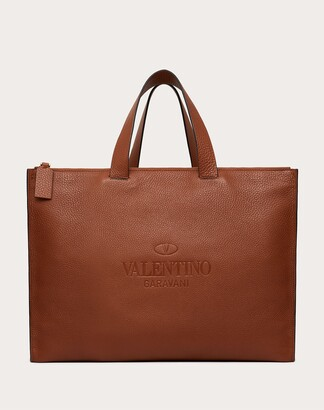 Valentino Garavani Uomo Valentino Garavani Identity Leather Tote Bag Man Saddle Brown 100% Pelle Di Vitello - Bos Taurus OneSize