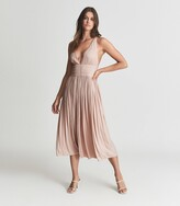 Thumbnail for your product : Reiss Saffy - Plunge Neckline Midi Dress in Blush