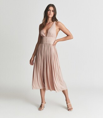 Reiss Saffy - Plunge Neckline Midi Dress in Blush