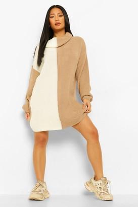 boohoo Petite Knitted Roll Neck Spliced Jumper Dress