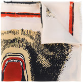 Gucci tigers face print scarf - women - Silk - One Size