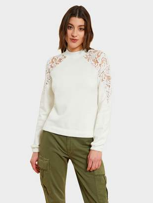 White + Warren Kinly Brushed Cotton Lace Cutout Sweatshirt
