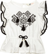 H&M Printed Top with Tassels - White - Kids
