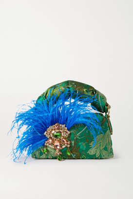 Dries Van Noten Pillow Smalll Feather And Crystal-embellished Floral-jacquard Tote - Green