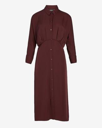 Express Button Front Midi Shirt Dress