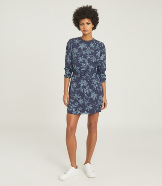 Reiss Melody - Printed Dress With Embellishment Detail in Blue