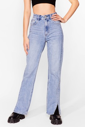 Nasty Gal Womens Slits Down to You High-Waisted Straight Leg Jeans - Blue - L
