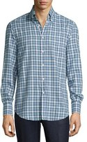 Brunello Cucinelli Twill Madras Plaid Oxford Shirt, Blue